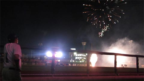 A postgame fireworks display can't begin until the railroad gives the all-clear.